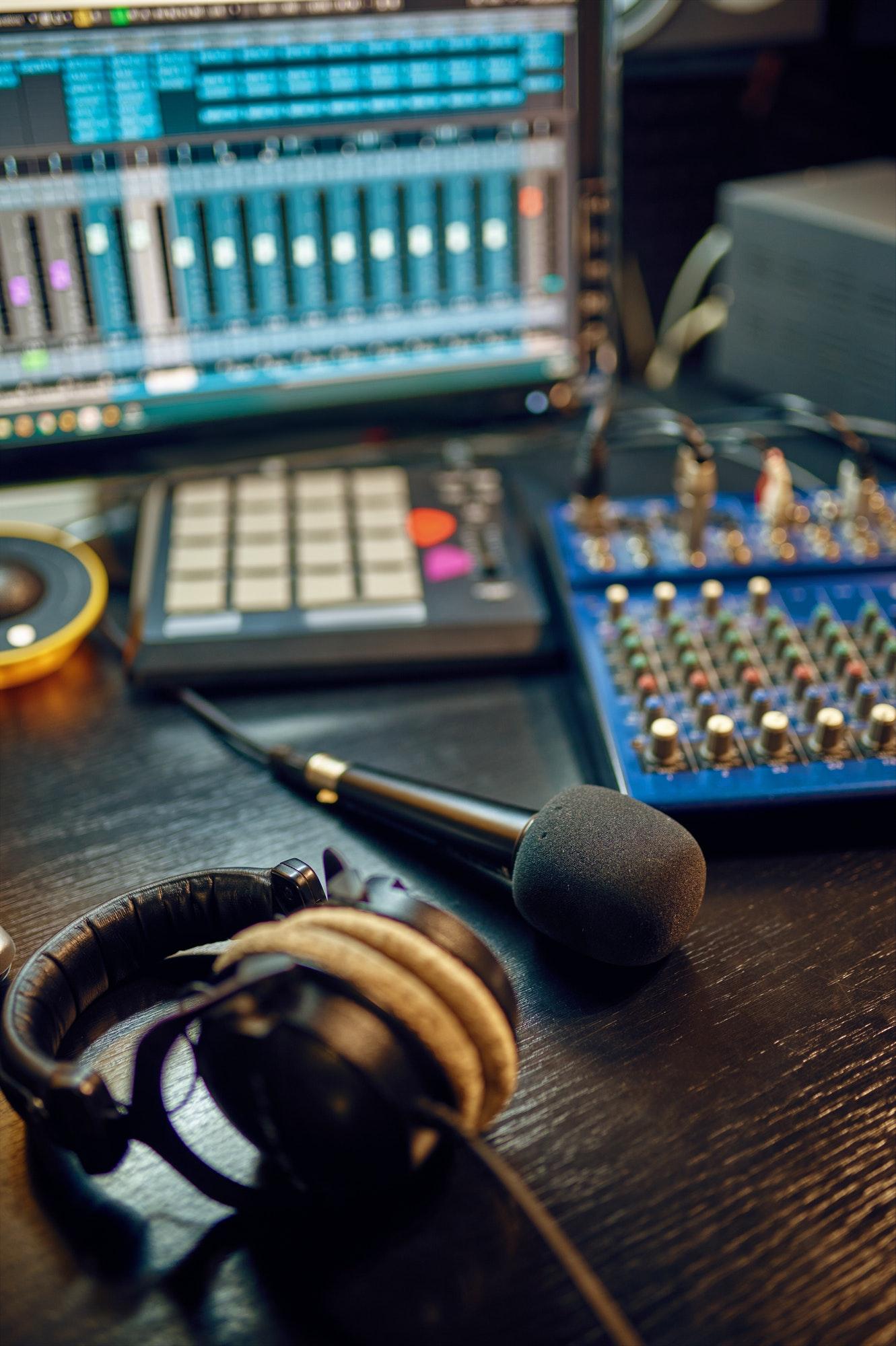 Headphones on the table, recording studio interior